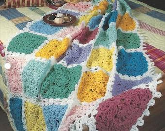 Crochet Pattern Blanket Afghan Crosses & Chains, Home Decor, Bedspread, Sofa Throw, Bedding, Annie's Crochet Quilt