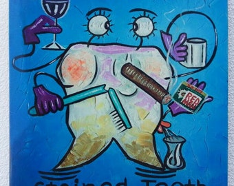 Stained Tooth! Funny souvenir tile