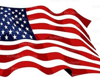 American Flag Waving Edible Frosting Sheet Cake Cupcake Topper Baking Supplies Jenuine Crafts