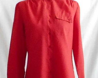 Vintage 1980s Jasara Red Long Sleeve Blouse, Vintage Jasara Blouse, 1980s Jasara Blouse, Vintage Red Blouse, 1980s Red Blouse