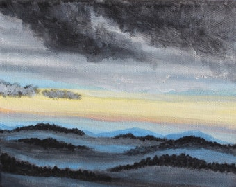 After The Storm: 8X10 Original acrylic painting, landscape on canvas, misty mountains