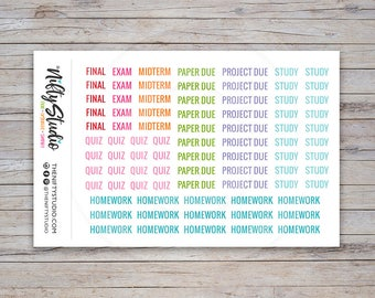 School Stickers, college planner stickers, student, back to school, assignment, class, agenda, erin condren | The Nifty Studio [112]