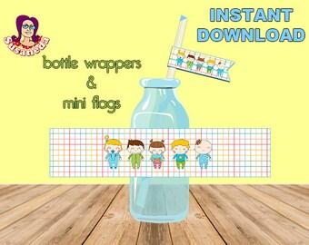 BABY SHOWER etiquetas de botellas y minibanderitas para pajitas, decoración bautizo, descarga inmediata, imprimibles para mesas dulces