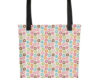 Tote bag Frosted Donuts - Sweet Shopping Bag - Reusable - Dessert Lover - Carryall Bag - Pastry Chef Gift - Book Bag - Cops