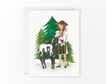 Grandma's goat - greeting card