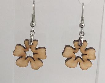 Small Flower wooden Earrings. Laser cut from acrylic. by Emily M A Parkin