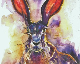 Hare painting - print from original watercolour - title 'Hare at dusk'