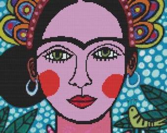 Frida Kahlo Cross stitch kit by Heather Galler 'Frida Kahlo', counted cross stitch, modern cross stitch