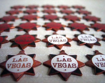 Vintage Enameled Las Vegas Charms Red White Black Sheriff Badge