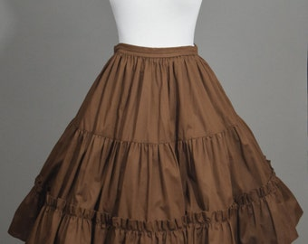 50s Chocolate Brown Ruffle Tiered Circle Skirt by Pete Bettina // Super Full Swing Square Dance, 100% Cotton // Boho Pinup Girl Fashion