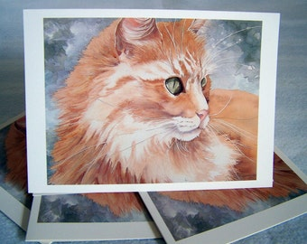 "Vintage 1990  ""HARRY'S WHISKERS the CAT"" Box of Blank Greeting Cards in Watercolor by Barbara Macomber for Carole Smith Gallery."