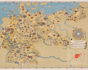 Germany, the Beautiful Travel Country; 1935 Tourist Map