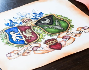 "Custom Family Crest / Original Coat of Arms - 11"" by 14"" custom coat of arms watercolor art with gold leaf - Personalized art"