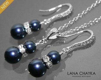Navy Blue Pearl Earrings and Necklace Set STERLING SILVER Cz Pearl Set Swarovski Night Blue Pearl Jewelry Set Wedding Dark Blue Jewelry Set