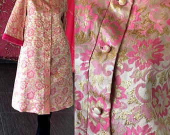 Dorian Dress 60s Brocade Metallic Mod Gold Pink Party Dress