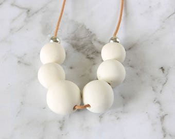 White Necklace, Neutral Necklace, White Polymer Necklace, Polymer Clay Beads, long beaded necklace, Neutral Bead Necklace