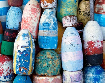 Nautical Photo, Print or Canvas, Lobster Buoys, Fishing, Colorful Art, New England, Beach Decor, Coastal Photo, Marine Art - Buoys of Summer