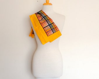 1970s Vibrant Yellow Checked Scarf Vintage