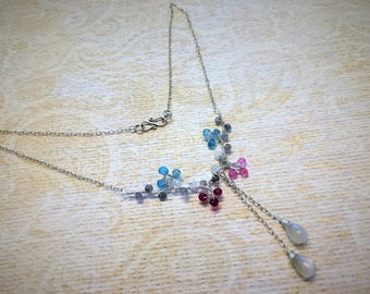 Moonstone, labradorite, apatite and sapphire gemstone necklace in sterling silver