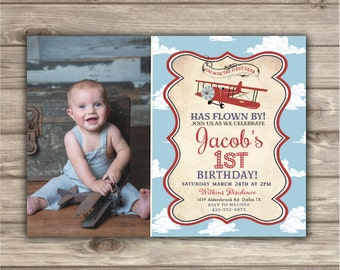 Photo Invitations Airplane Birthday Printable Boy Rustic Theme Party Red Picture Burlap Vintage Air Plane Clouds pdf jpeg NV NV2126