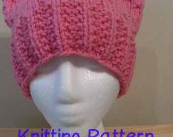 Knitting Pattern for a Sofi's Cat Hat with Seeded Rib and Simple Seed Stitch