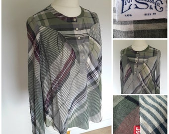 70's Levi Strauss and Co Plaid Shirt Blouse Top Country Western Style UK 12-14