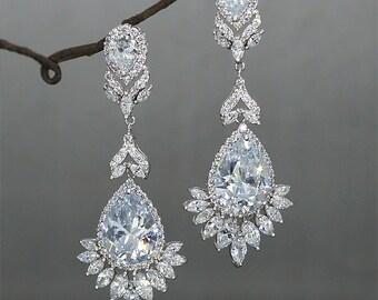 Bridal earrings chandelier etsy long wedding earrings chandelier bridal earrings crystal drop earrings cubic zirconia wedding jewelry rhinestone chandelier earrings mozeypictures Choice Image