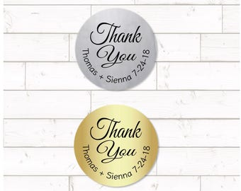 Thank You Sticker,  sheet of 20, custom- 2 inch circle, silver or gold foil labels,  wedding thank you sticker, wedding date sticker