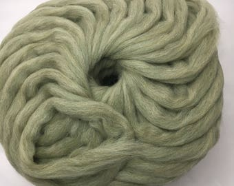 Sage green wool roving for needle fleting, wet felting, weaving, and spinning 100% wool from US farms, 1oz