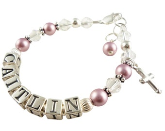 Cross First Communion Bracelet/ baptism bracelet - christening jewelry - custom swarovski pearl and crystal- powder rose or any color