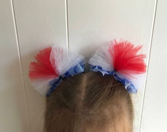 Red, white, and blue hair bow poofs