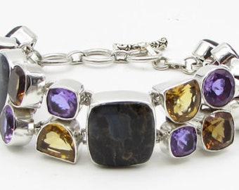 925 sterling silver - multi gemstones geometric heavy 20mm chain bracelet b1063