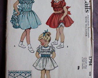 Girls 50s Ruffled Yoke Collar Party Dress Full Skirt Smocked Waistband Vintage 1950s McCall's 1794 Sewing Pattern size 8 b 26 Uncut and FF