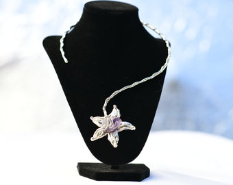 Silver Asymetrical Necklace In a Flower With Purple Amethyst