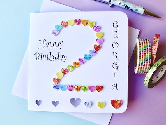 2nd birthday card custom personalised age 2 birthday card like this item bookmarktalkfo Gallery