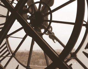 Building Clock Window Photograph in Sepia, B/W in Paris, France (Digital Download)