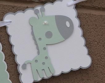 Giraffe gender neutral baby shower banner. White, Gray and pale green.