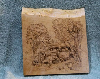 Old Car Pyrography Art Burn on Vermont Maple