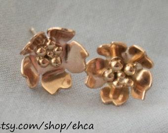 Handmade 10k Gold Cherry Blossom Post Earrings with 10k Gold Balls in Center