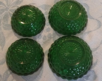 Vintage Hocking Green Bubble Glass Bowls in Forest Emerald Green     2 Different Sizes