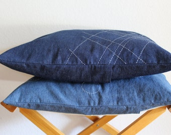 "Handmade Cushion Cover / Pillow Case / Denim / Japanese ""Sashiko"" style / unique / simple"