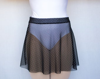 Ballet skirt, polka dot ballet skirt, ballet circular skirt, ballet short skirt, woman skirts, dance clothes, circular tulle skirt