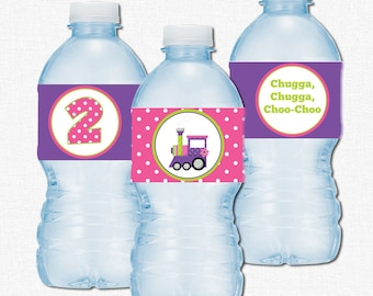 Train Water Bottle Labels, Train Party Decorations, Choo Choo Train Wraps, Printable Train Labels