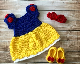 Princess Snow White Inspired Costume/Crochet Princess Snow White Dress/Snow White/Princess Photo Prop Newborn to 24 Months- MADE TO ORDER