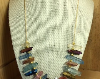 Natural Dyed Colored Quartz Crystal Necklace on Gold-Plated Chain