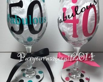 Personalized FABULOUS birthday wine glass! Perfect gift
