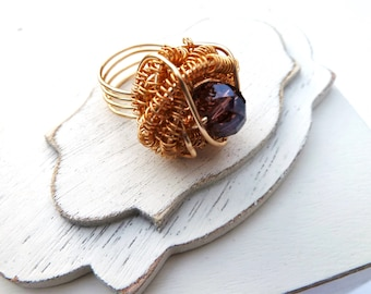 Handmade Wire Wrapped Ring With Purple Crystal Size 5.5 Gold Color Non-Tarnish Wire 18 And 22 Guage