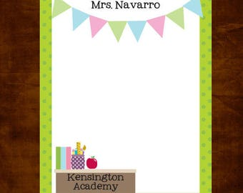 Teacher Notepad, 100 sheets of personalized stationery for Teacher Appreciation or End of Year gift giving