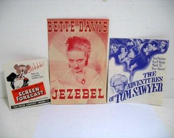 Lot of 3 Movie Herald Handbills, Bette Davis Jezebel Tom Sawyer Kelly, Screen Forecast 1930s Movie Leaflets Program