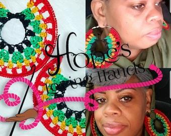 Rasta Power Crochet Earring Pattern
